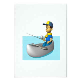 Scout Fishing 2 5x7 Paper Invitation Card