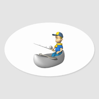 Scout Fishing Oval Stickers