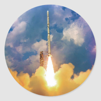 Scout Rocket Launch Classic Round Sticker