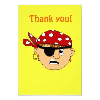 Scowling Boy Cute Pirate Stuff Customizable 3.5x5 Paper Invitation Card