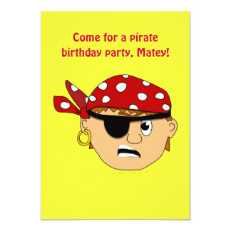 Scowling Boy Cute Pirate Stuff Customizable 5x7 Paper Invitation Card
