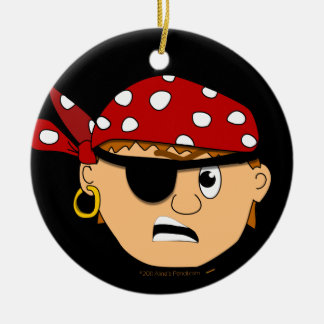 Scowling Boy Cute Pirate Stuff Customizable Double-Sided Ceramic Round Christmas Ornament