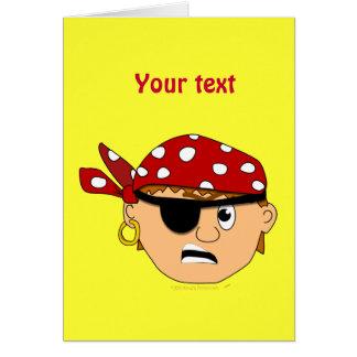 Scowling Boy Cute Pirate Stuff Customizable Greeting Card