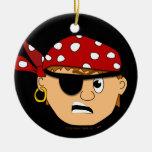 Scowling Boy Cute Pirate Stuff Customizable Christmas Tree Ornaments