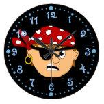 Scowling Boy Pirate Kids Wall Clock w/ Minutes