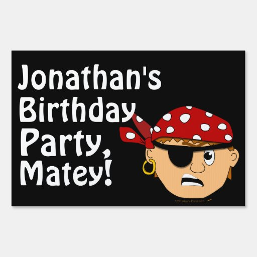 Scowling Pirate Boy Birthday Party Name Yard Sign