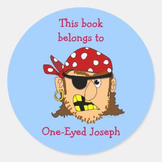 Scowling Pirate Custom Book Labels Template Round Sticker