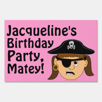 Scowling Pirate Girl Birthday Party Name Yard Sign