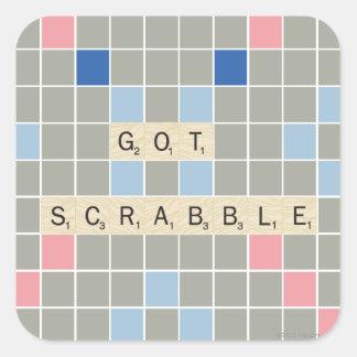 Scrabble conseguido calcomania cuadradas personalizada