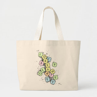 Scrabble letters large tote bag