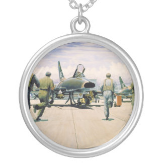 Scramble at Phan Rang by William S. Phillips Silver Plated Necklace
