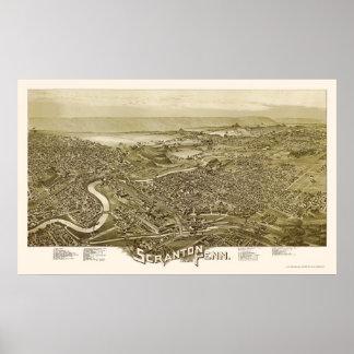 Scranton, mapa panorámico del PA - 1890 Póster