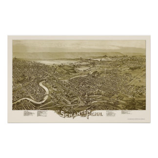 Scranton, PA Panoramic Map - 1890 Poster