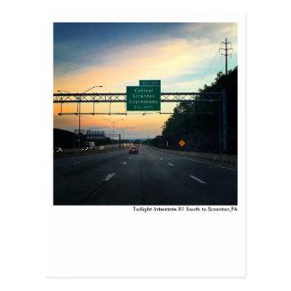 Scranton PA Postcard-Twilight Sky-I81-Dunmore Postcard