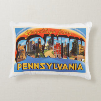 Scranton Pennsylvania PA Vintage Travel Souvenir Decorative Pillow