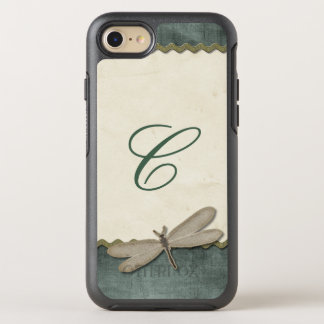 Scrap Green Dragonfly and Ribbon Monogrammed OtterBox Symmetry iPhone 8/7 Case