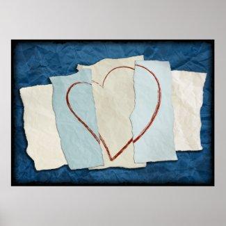 Scrap Heart Art Print print