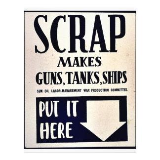 """Scrap Makes Guns, Tanks, Ships 8.5"""" X 11"""" Flyer"""