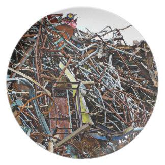 Scrap Metal Pieces of Junk Plate