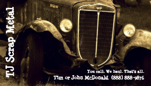 Junk business cards templates zazzle scrap metal recycling garbage pickup business card reheart Gallery