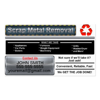 Scrap Metal Removal Business Card - White Version
