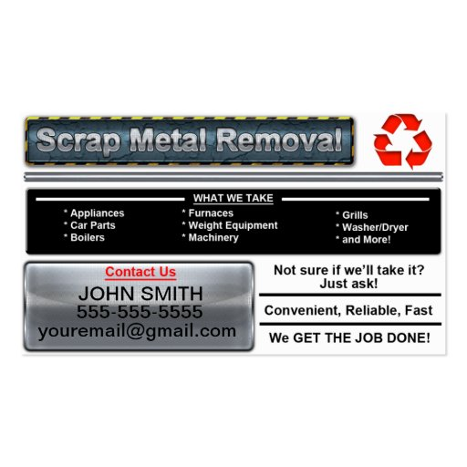 Metal recycling business card templates bizcardstudio scrap metal removal business card white version reheart Choice Image