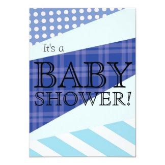 Scrap Quilt Blue Baby Shower Invitation