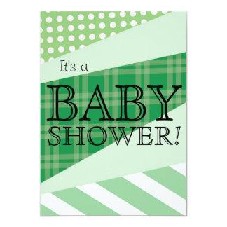 Scrap Quilt Green Baby Shower Invitation