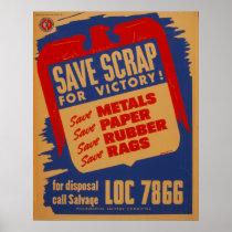 Scrap Salvage WPA Vintage Poster