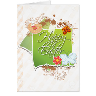 Scrapbook Birds and Butterfly Easter Greeting Card