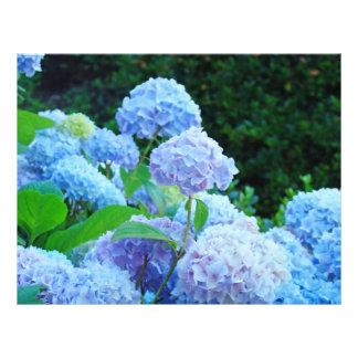 Scrapbook paper Blue Hydrangea Flowers Garden Letterhead