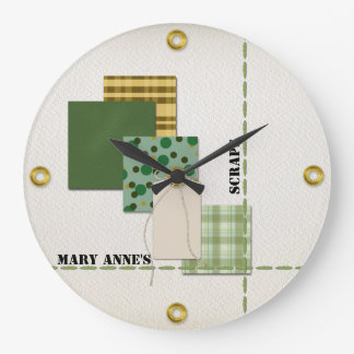 Scrapbook Paper, Tag, Cord, Stitching, and Rivets Large Clock