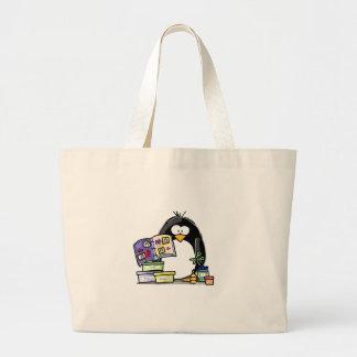 Scrapbook Penguin Large Tote Bag