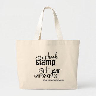scrapbook, stamp, alter, create, www.concroptio... large tote bag
