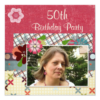 """Scrapbook Style 50th Birthday Party Add Your Photo 5.25"""" Square Invitation Card"""