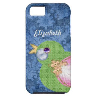 Scrapbook Style Damask Pattern And Chic Paper Bird iPhone SE/5/5s Case