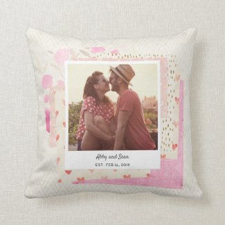 Scrapbook Style Photo Valentine's Day Pillow