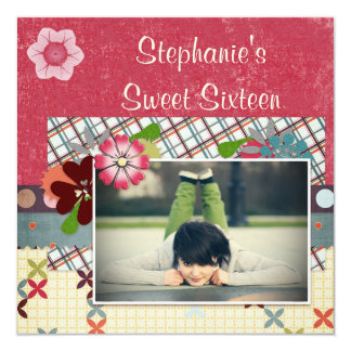 Scrapbook Style Sweet 16 Add Your Photo Personalized Invitation