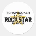 Scrapbooker Rock Star by Night Classic Round Sticker