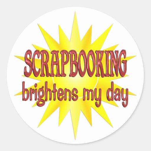 Scrapbooking aclara mi día pegatina redonda