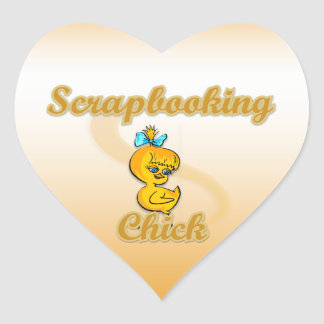Scrapbooking Chick Heart Sticker