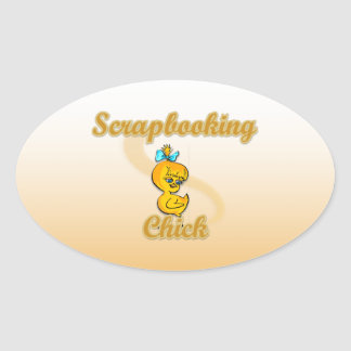 Scrapbooking Chick Oval Sticker