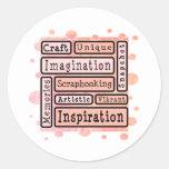Scrapbooking colorido etiqueta redonda