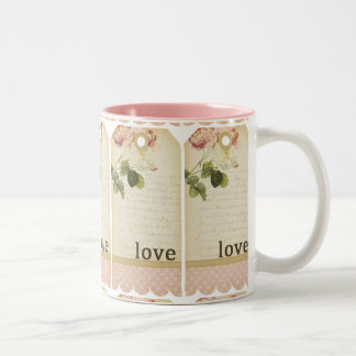 SCRAPBOOKING FLORAL LOVE VINTAGE COUNTRY ROMANTIC Two-Tone COFFEE MUG
