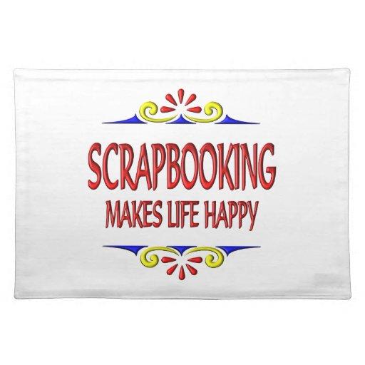Scrapbooking hace vida feliz mantel individual