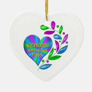 Scrapbooking Happy Heart Ceramic Ornament