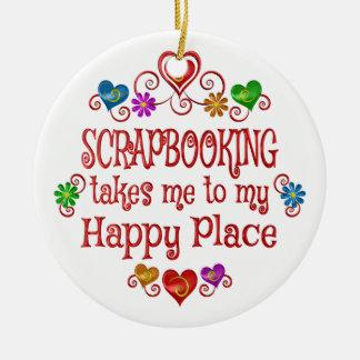 Scrapbooking Happy Place Ceramic Ornament