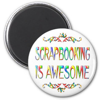 Scrapbooking is Awesome 2 Inch Round Magnet