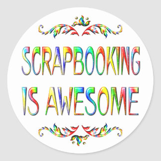 Scrapbooking is Awesome Classic Round Sticker