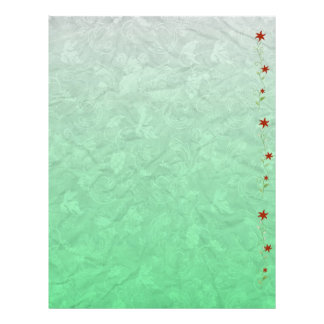 Scrapbooking Paper Green Grapevine Red Flowers